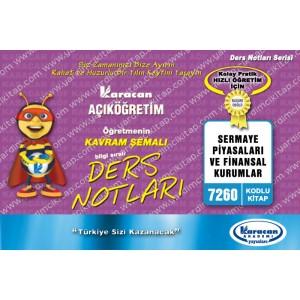 7260 - Karacan Yayınları Kavram Şemalı Ders Notları - SERMAYE PİYASALARI VE FİNANSAL KURUMLAR